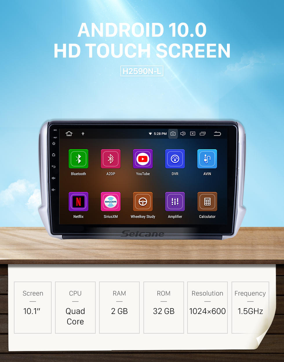 Seicane Android 10.0 For 2014 Peugeot 2008 Radio 10.1 inch GPS Navigation System with Bluetooth HD Touchscreen Carplay support TPMS