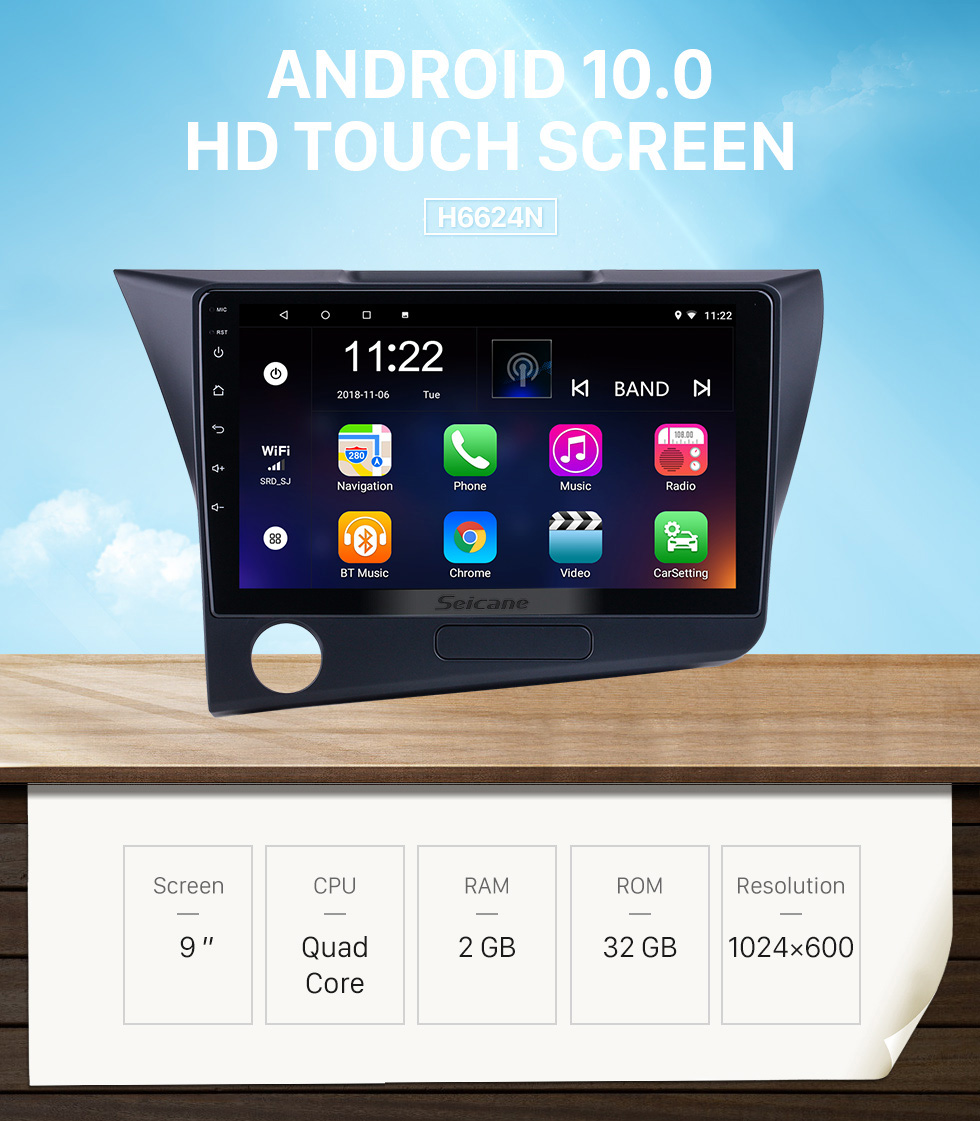Seicane HD Touchscreen 9 inch Android 10.0 for 2010 Honda CRZ LHD Radio GPS Navigation System with Bluetooth support Carplay Rearview camera