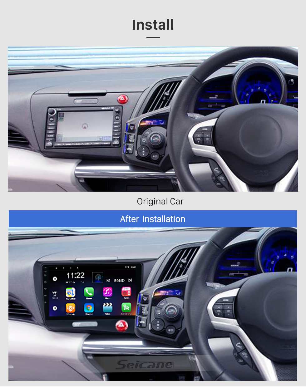 Seicane OEM 9 inch Android 10.0 for 2010 Honda CRZ RHD Radio with Bluetooth HD Touchscreen GPS Navigation System support Carplay TPMS