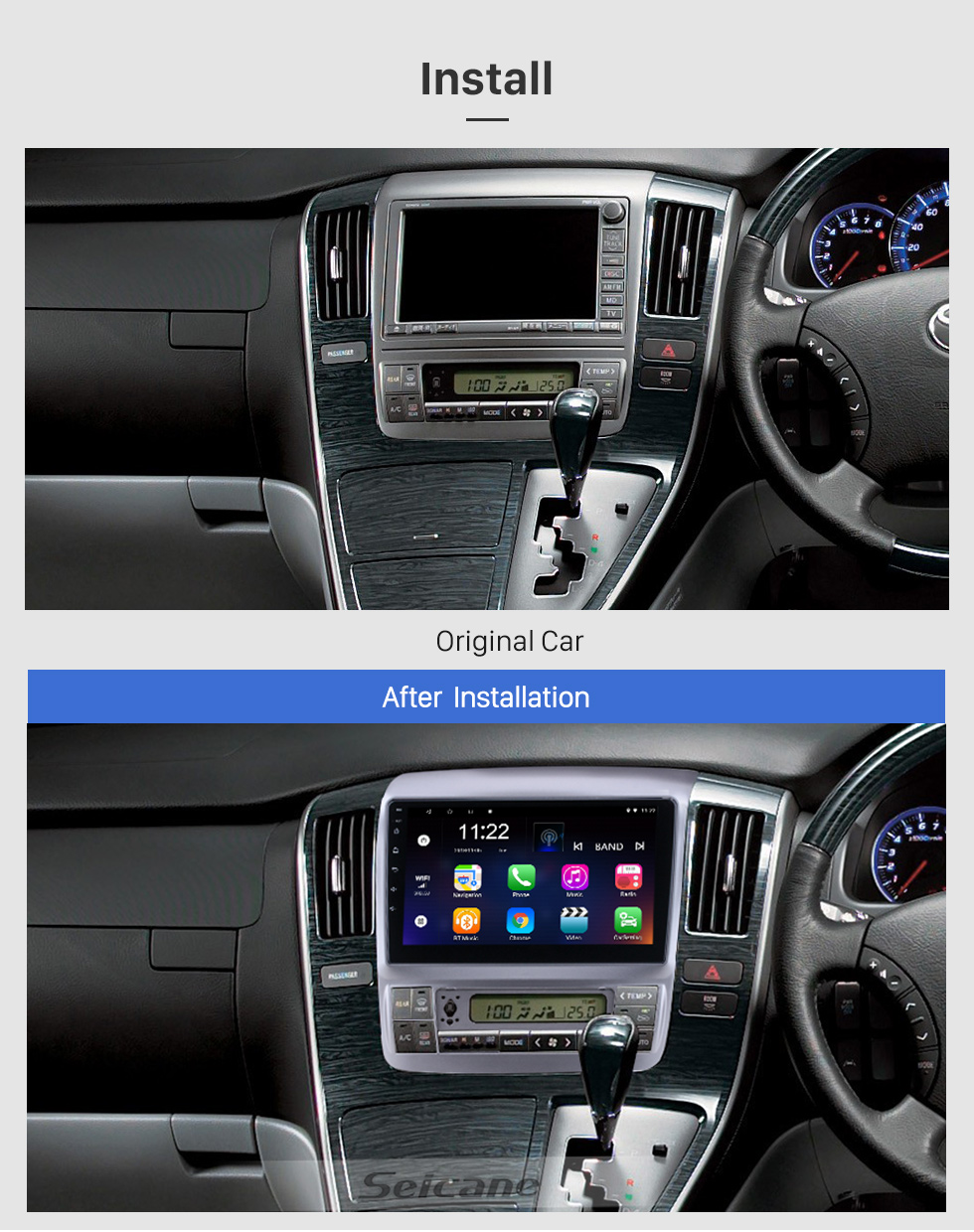 Seicane 9 inch Android 10.0 for 2003 2004-2007 Toyota Alphard Radio GPS Navigation System With HD Touchscreen Bluetooth support Carplay OBD2