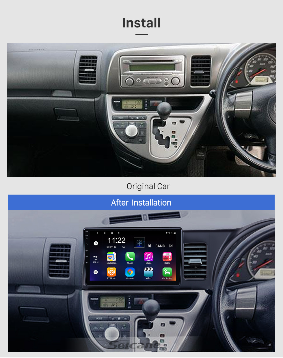 Seicane 10.1 inch Android 10.0 for 2006 Toyota Wish Radio GPS Navigation System With HD Touchscreen Bluetooth support Carplay OBD2