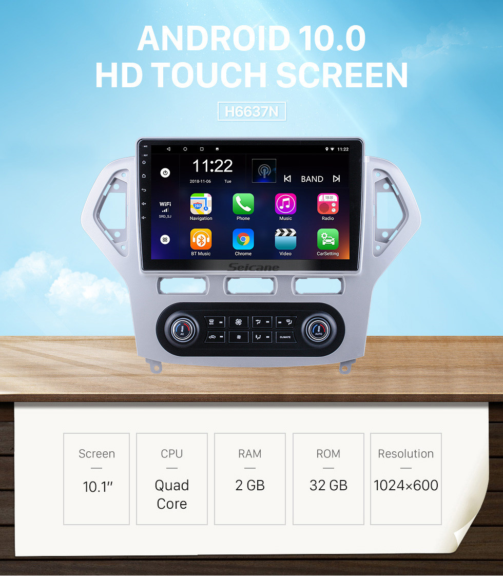 Seicane Android 10.0 HD Touchscreen 10.1 inch for 2007 2008 2009 2010 Ford Mondeo Auto A/C Radio GPS Navigation System with Bluetooth support Carplay