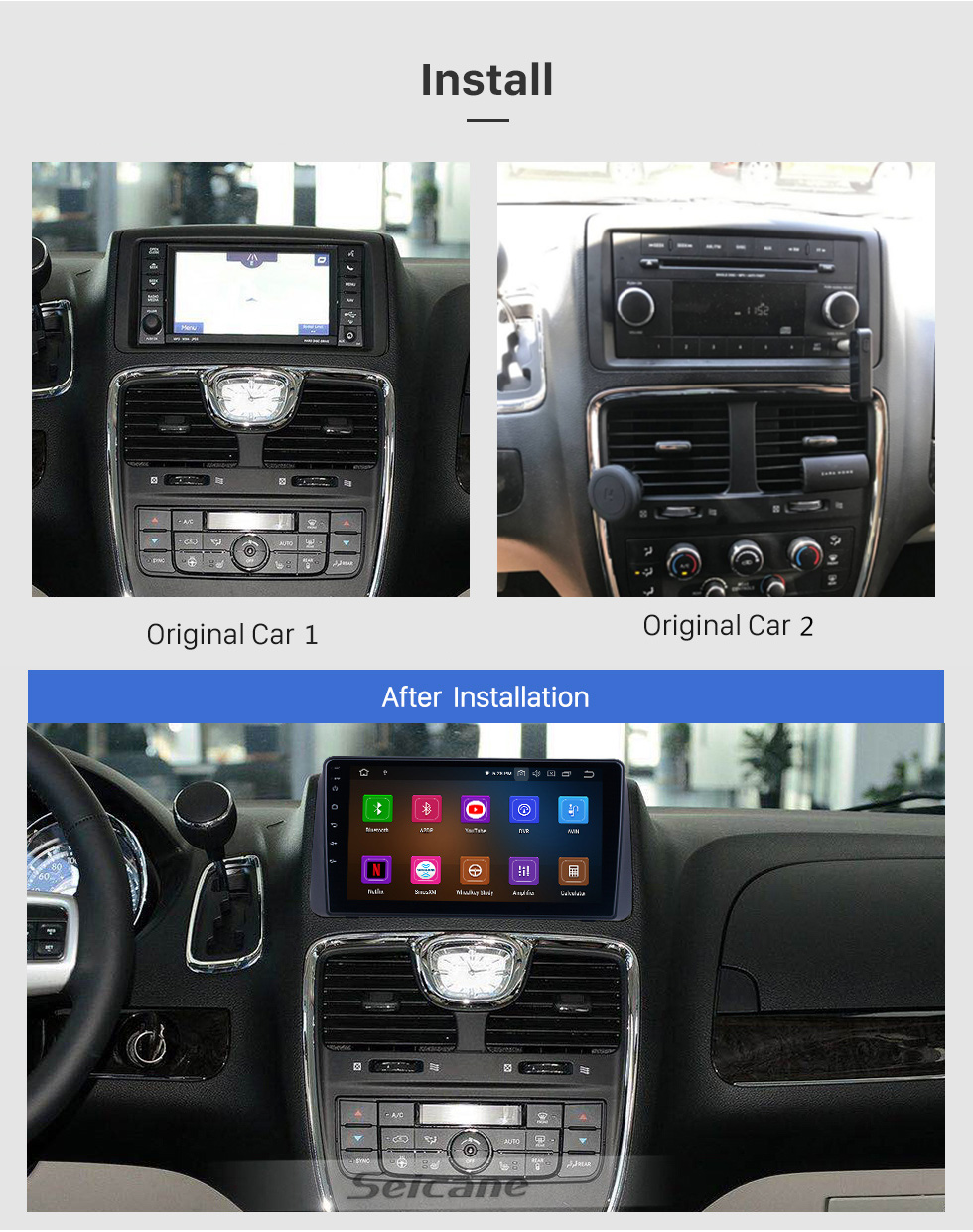 Seicane For 2011 Chrysler Grand Voyager Radio Android 10.0 HD Touchscreen 9 inch GPS Navigation System with Bluetooth support Carplay DVR