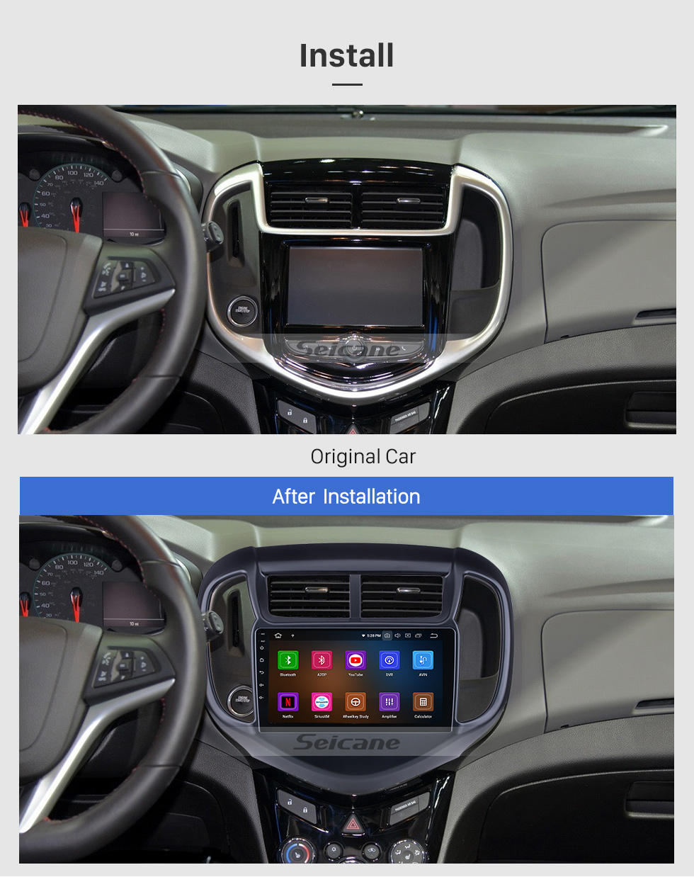 Seicane OEM Android 10.0 for 2016 Chevy Chevrolet Aveo Radio with Bluetooth 9 inch HD Touchscreen GPS Navigation System Carplay support DSP