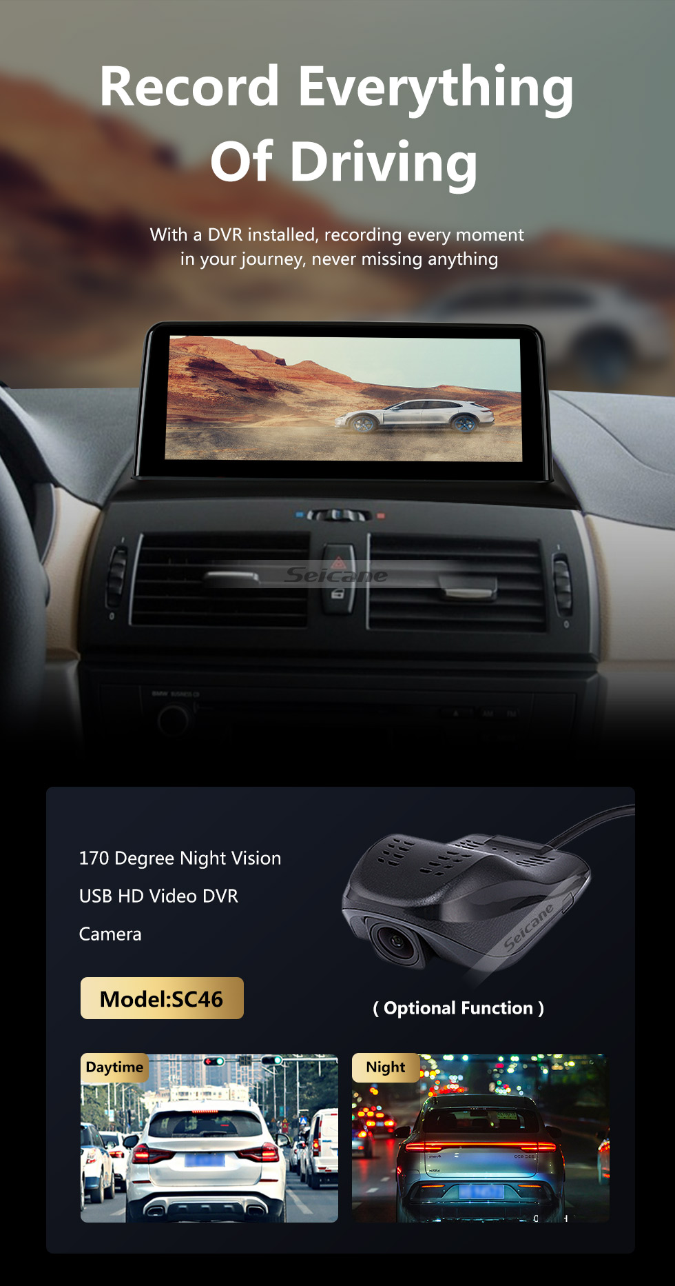Seicane 10.25 inch 2004-2009 BMW X3 E83 Android 9.0 Touchscreen GPS Navigation Bluetooth Stereo with Music AUX WIFI support DAB+ OBD2 DVR Digital TV