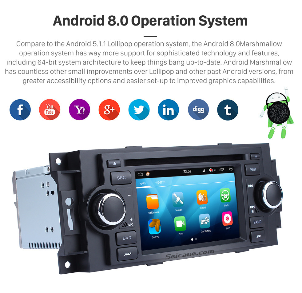Seicane Aftermarket Android 8.0 DVD Player GPS Navigation system for 2002-2007 Dodge Durango Dakota P/U with OBD2 Bluetooth Radio Mirror link Touch Screen DVR Backup camera TV USB SD 1080P Video WIFI Steering Wheel control