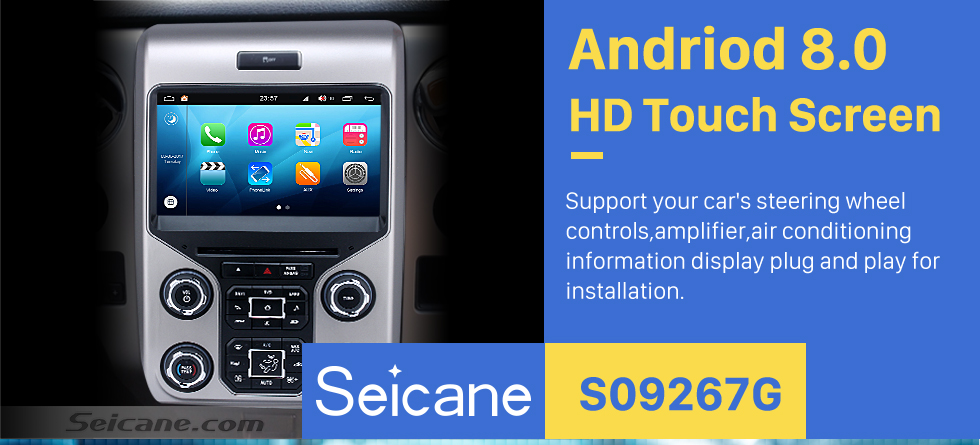 Seicane Android 8.0 Head Unit Car Stereo Sat Navi Multimedia Player for 2013 2014 2015 Ford F150 F250 F350 Expedition with GPS Radio DVD Bluetooth 3G WiFi Support SWC 3-zone POP