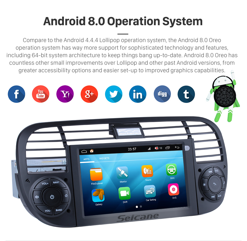 Seicane Android 8.0 GPS Radio DVD player Navigation System for 2007-2013 FIAT 500 with CANBUS OBD2 Bluetooth HD 1024*600 Touch Screen DVR Rearview camera TV Video WIFI Steering Wheel Control USB SD Mirror link