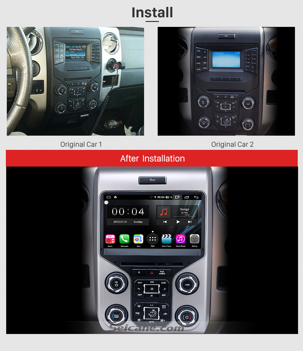 Seicane Android 9.0 Head Unit Car Stereo Sat Navi Multimedia Player for 2013 2014 2015 Ford F150 F250 F350 Expedition with GPS Radio DVD Bluetooth 3G WiFi Support SWC 3-zone POP