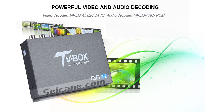 Seicane T337B H.264 (MPEG4) DVB-T2 TV RECEIVER powerful video and audio decoding