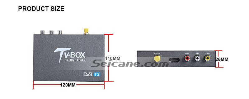 Seicane T337B H.264 (MPEG4) DVB-T2 TV RECEIVER size