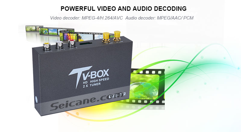 Seicane T338B H.264 (MPEG4) DVB-T2 TV RECEIVER powerful video and audio decoding