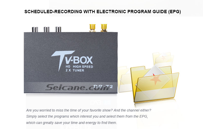 Seicane T338B H.264 (MPEG4) DVB-T2 TV RECEIVER scheduled-recording with electronic program guide(EPG)