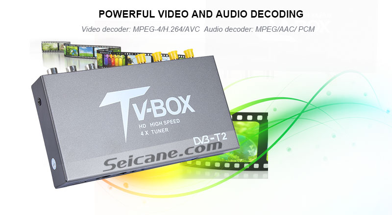 Seicane T339B H.264 (MPEG4) DVB-T2 TV RECEIVER powerful video and audio decoding