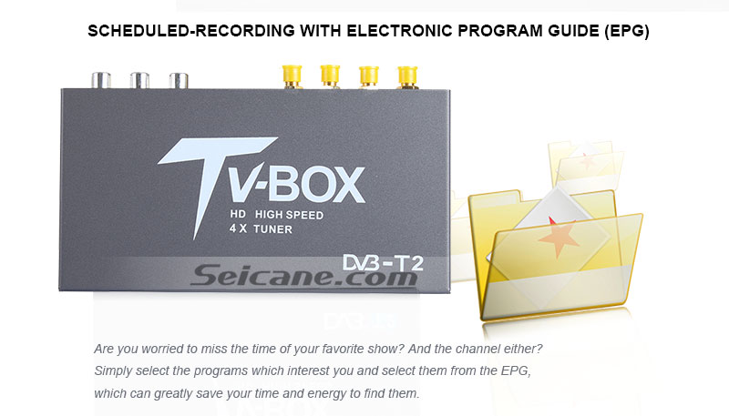 Seicane T339B H.264 (MPEG4) DVB-T2 TV RECEIVER scheduled-recording with electronic program guide(EPG)
